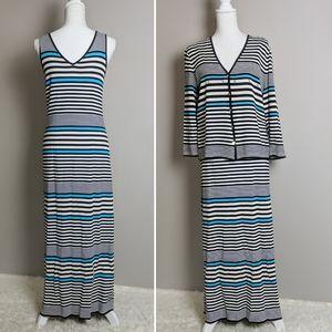 Escada 2 Piece Stripe Black White Maxi Dress 42/44